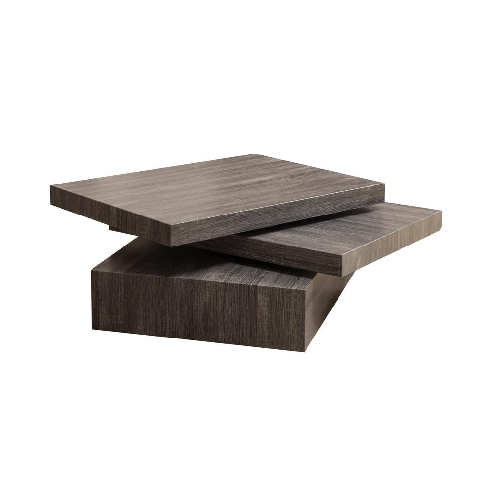 Noble House Sammy Black Rectangular Modernesque Rotatable Coffee Table