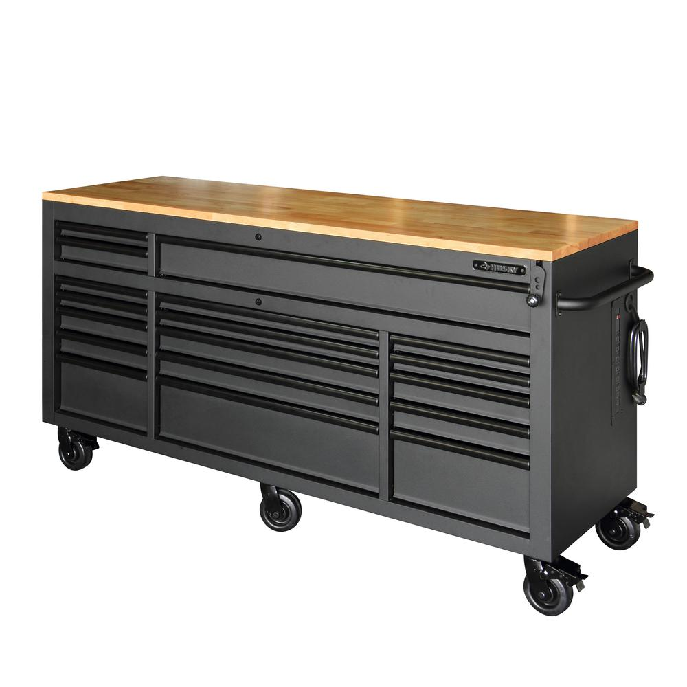 72 in  18-Drawer Mobile Workbench with Adjustable-Height Solid Wood Top in  Matte Black
