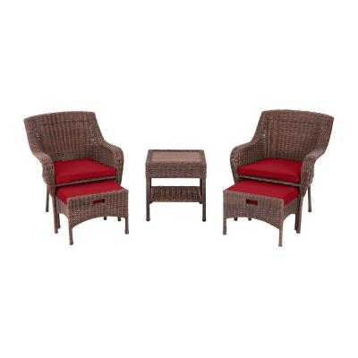Cambridge 5-Piece Brown Wicker Outdoor Patio Conversation Seating Set with CushionGuard Chili Red Cushions