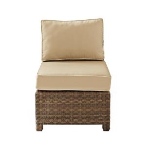 Bradenton Wicker Armless Middle Outdoor Sectional Chair with Sand Cushions