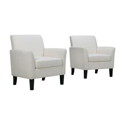 Off-White Alabaster Herringbone Maritza Flared Arm Upholstered Chairs (Set of 2)