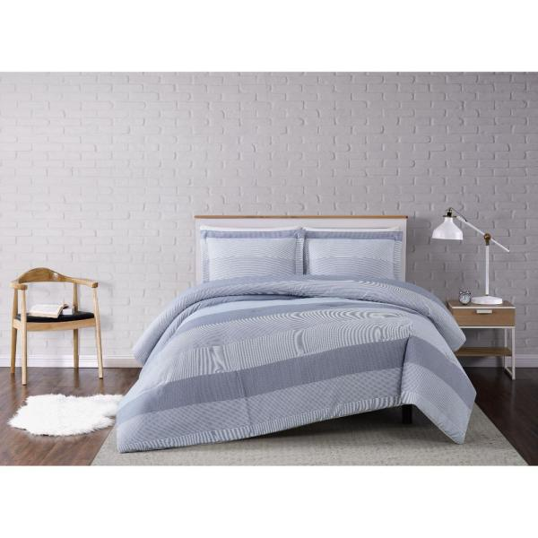 3-Piece Grey Multi Stripe King Comforter Set