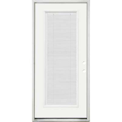 36 in. x 80 in. Reliant Clear Full Lite LHIS White Micro-Blind White Primed Fiberglass Prehung Front Door Nickel Hinges