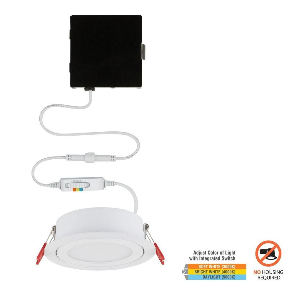 Commercial Electric Slim Directional 4 in. Color Selectable Canless LED Recessed Kit
