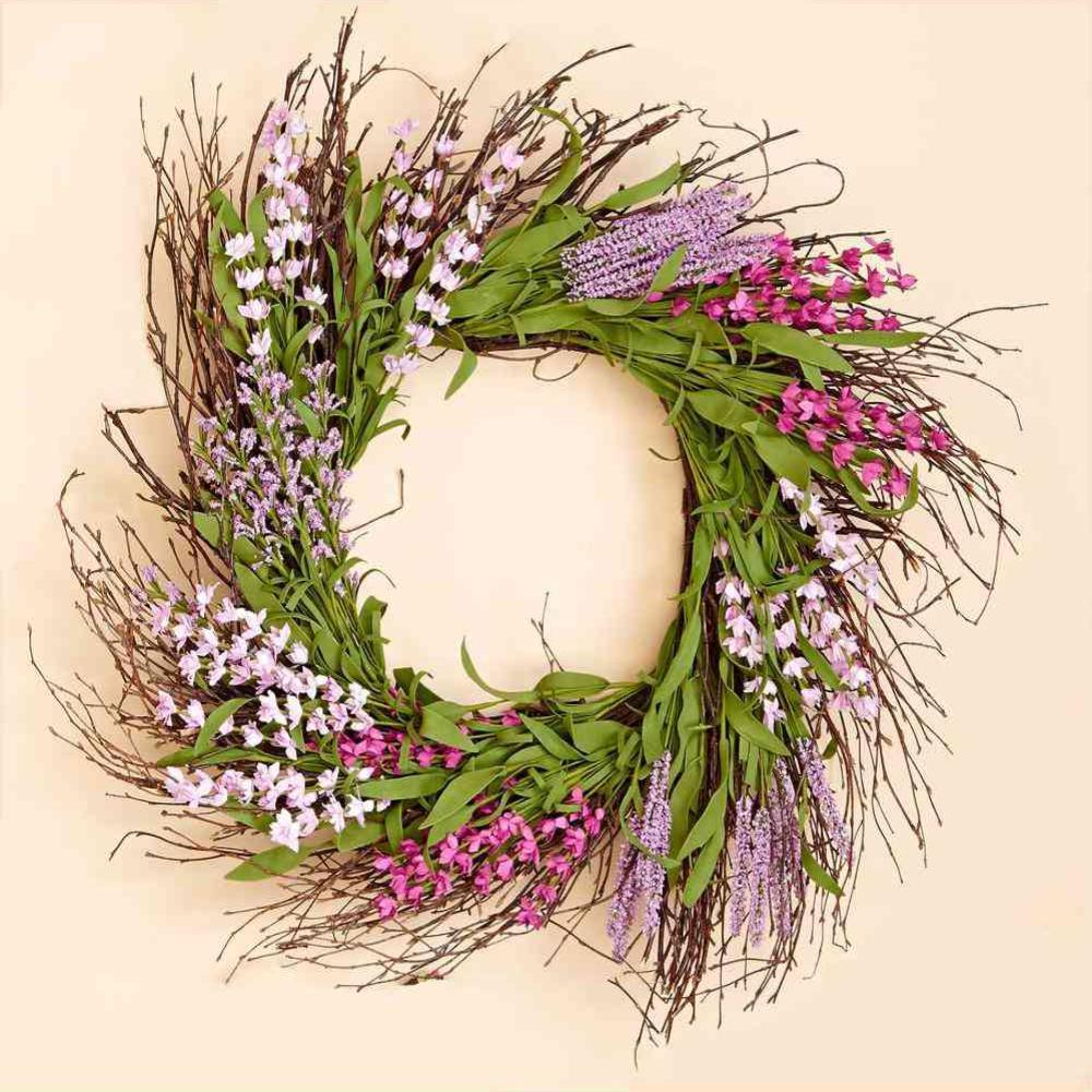 20 in. Purple Flower Wreath