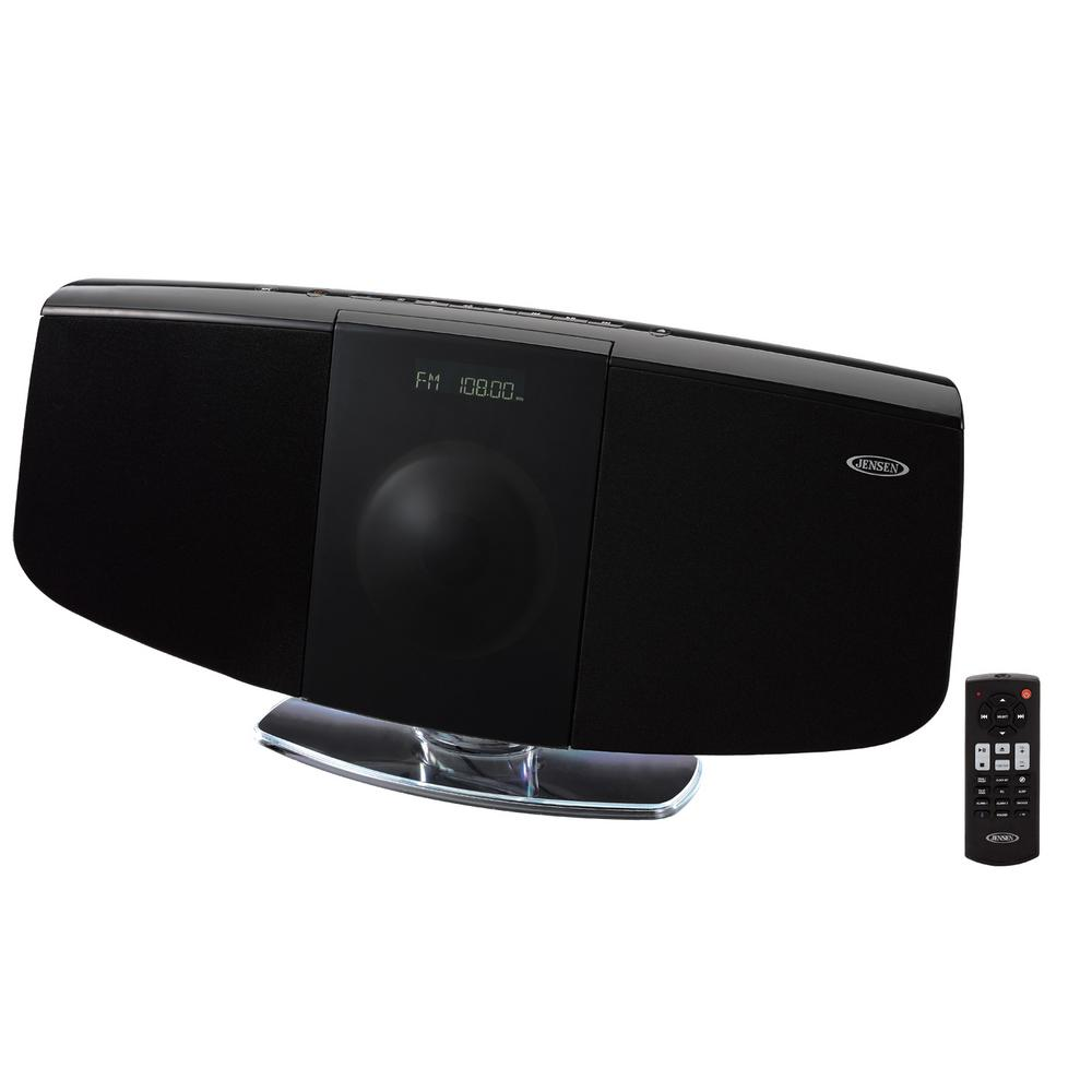 jensen jbs 350 bluetooth wall mountable music system with. Black Bedroom Furniture Sets. Home Design Ideas