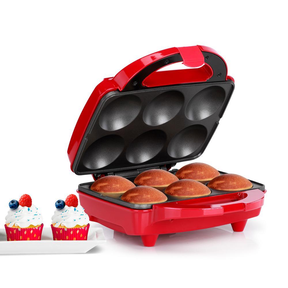 800 W Red Cupcake Maker (6-Piece)