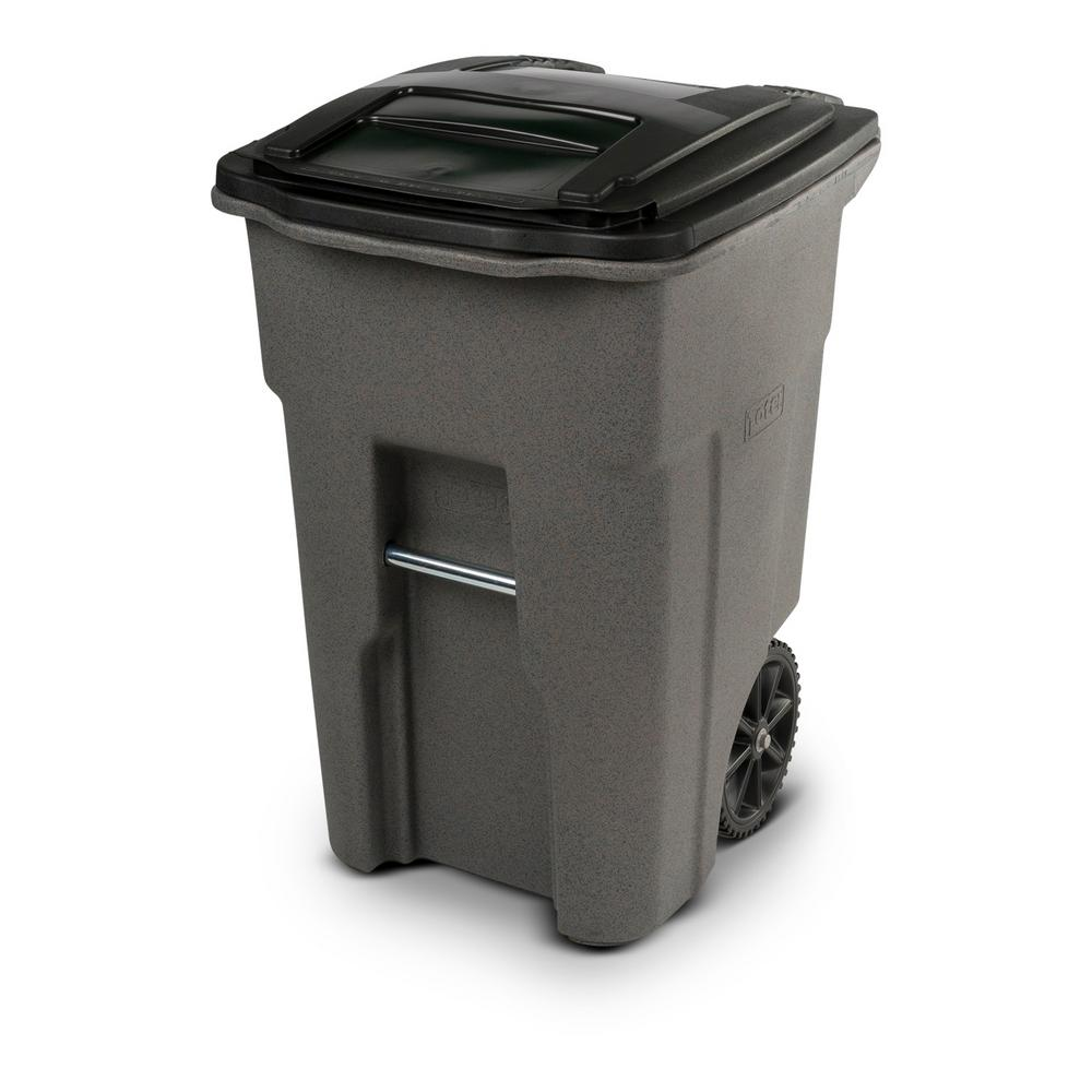 Toter 48 Gal Wheeled Graystone Trash Can R1129