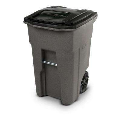 48 Gal. Greystone Trash Can with Wheels and Attached Lid