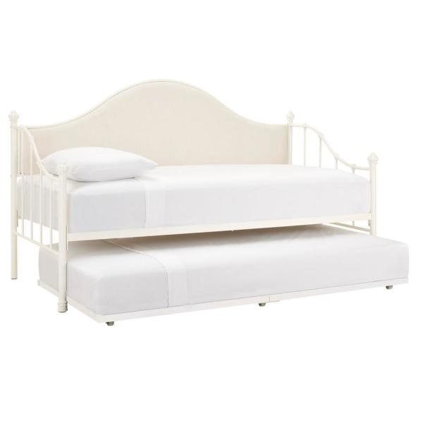 Capehurst Ivory Metal Upholstered Twin Daybed Bed with Trundle and Ivory Fabric (40.25 in W. X 48.5 in H.)