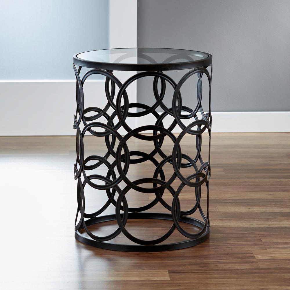 FirsTime 22 in. Oil-Rubbed Bronze Circles Side Table