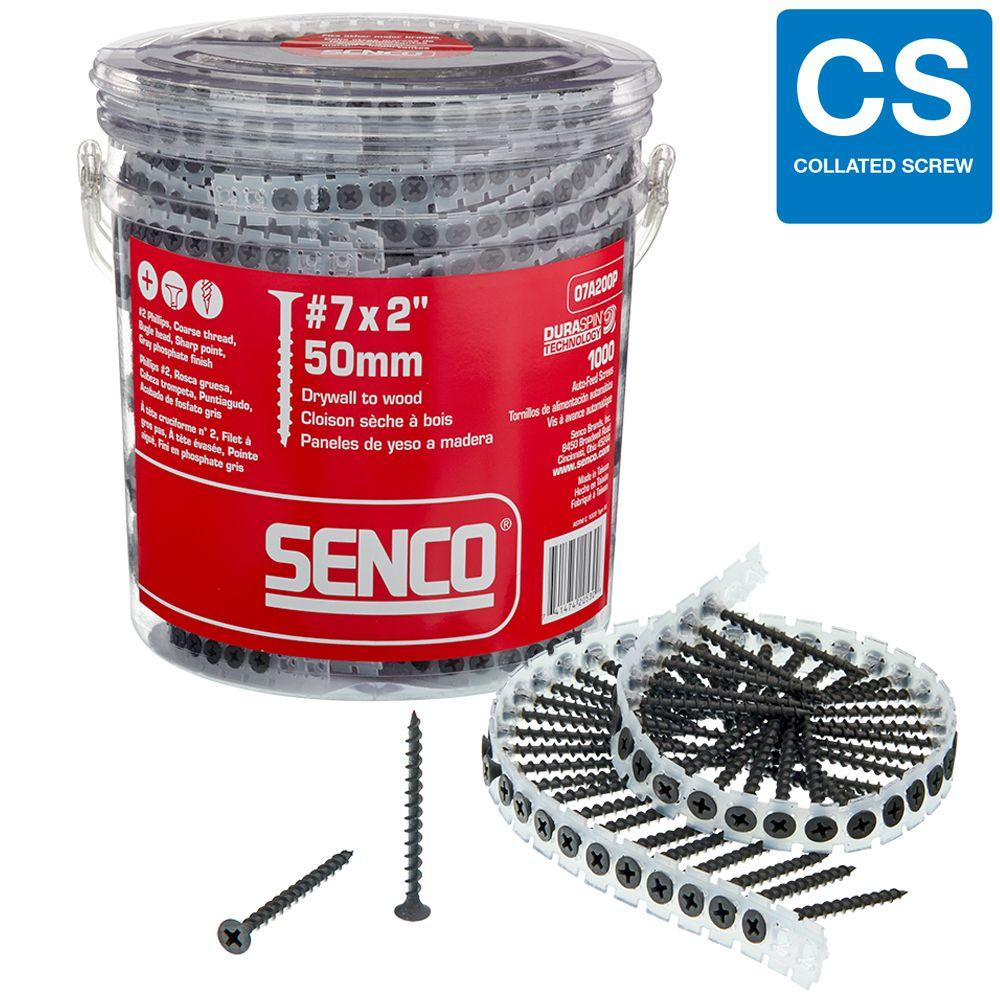 Senco 7 x 2 in. Coarse Round-Head Square-Drive Drywall DuraSpin Collated Screw (1000-Pack)