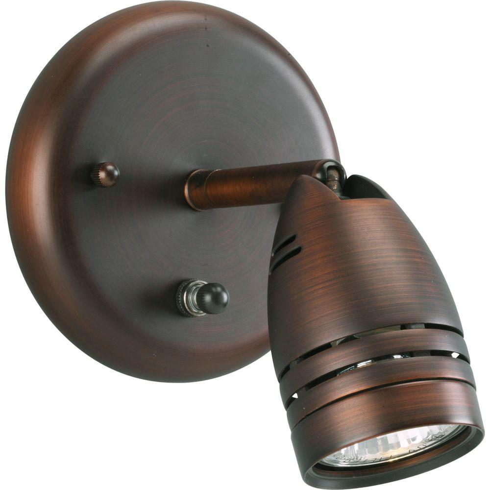 Progress Lighting 1-Light Urban Bronze Track Lighting Fixture Contemporary style light with integral swivel to provide accent or task lighting. Install as a ceiling or wall mount fixture.