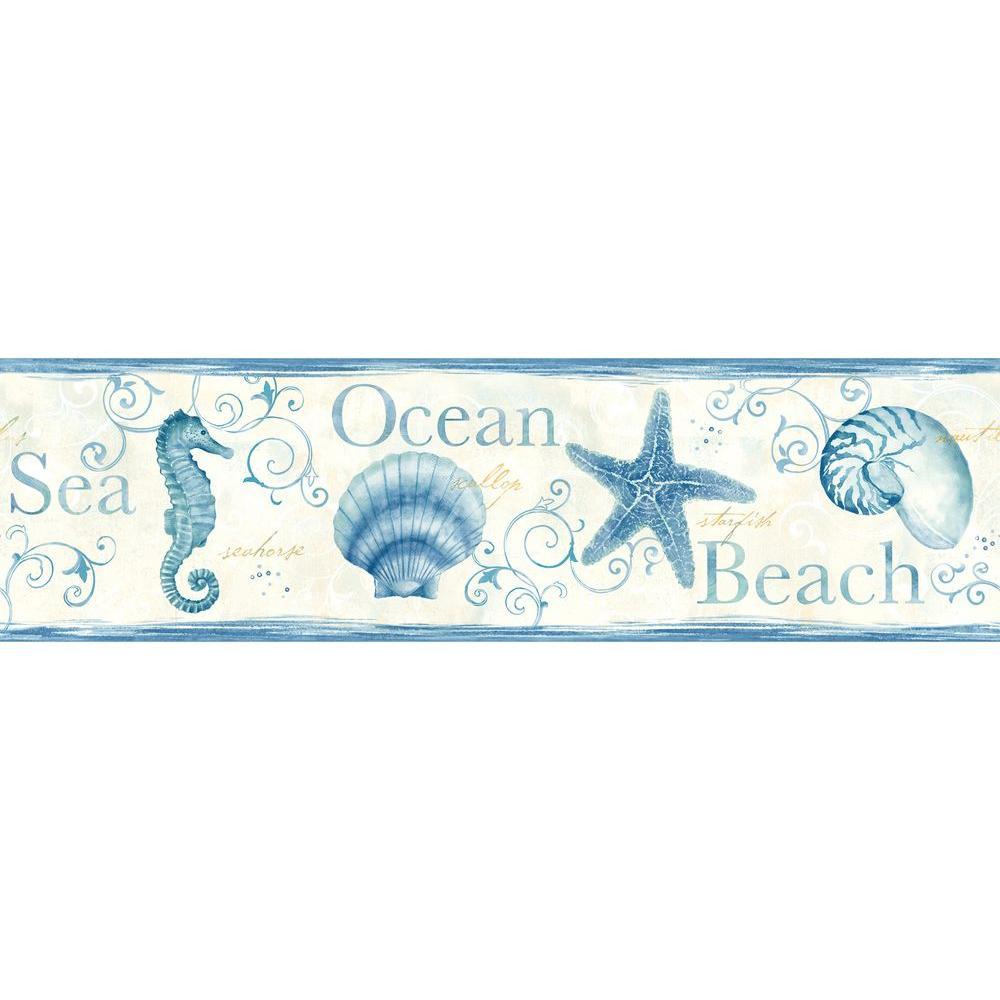 Island Bay Blue Seashells Blue Wallpaper Border Sample