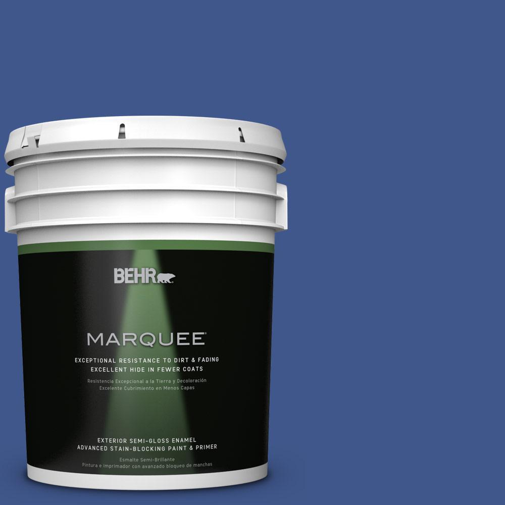 5-gal. #PPU15-3 Dark Cobalt Blue Semi-Gloss Enamel Exterior Paint