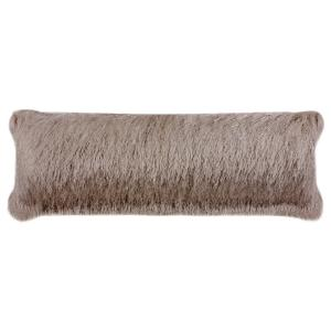 Soleil Shag Taupe Solid Lumbar Outdoor Throw Pillow