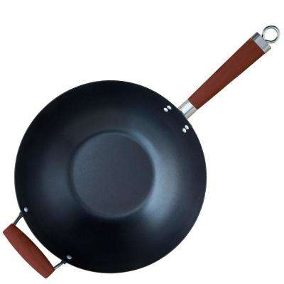 Carbon Steel Nonstick 14 in. Wok with Wood Handle