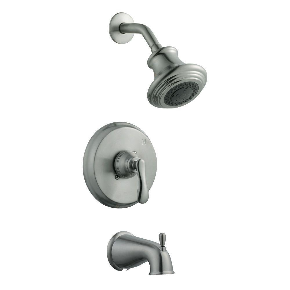 Design House Madison Single-Handle 3-Spray Tub and Shower Faucet in Satin Nickel (Valve Included)