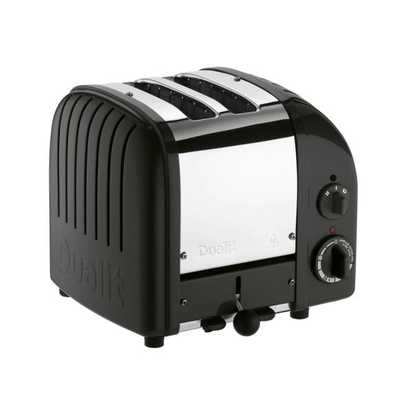 New Gen 2-Slice Matte Black Wide Slot Toaster with Crumb Tray