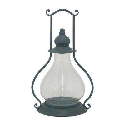 17.5 in. Blue Metal Lantern Candle Holder