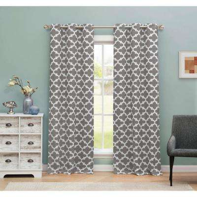 Kyra Blackout Gray 365 Grommet Panel Pair - 38 in. W x 84 in. L in (2-Piece)