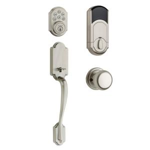 Kwikset SmartCode 909 Satin Nickel Single Cylinder Electronic Deadbolt with Arlington Lever and Hancock Interior Knob