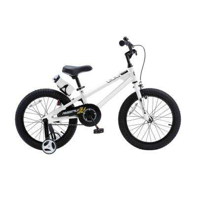Freestyle BMX Kid's Bike, Boy's Bikes and Girl's Bikes with Training Wheels, 18 in. Wheels in White
