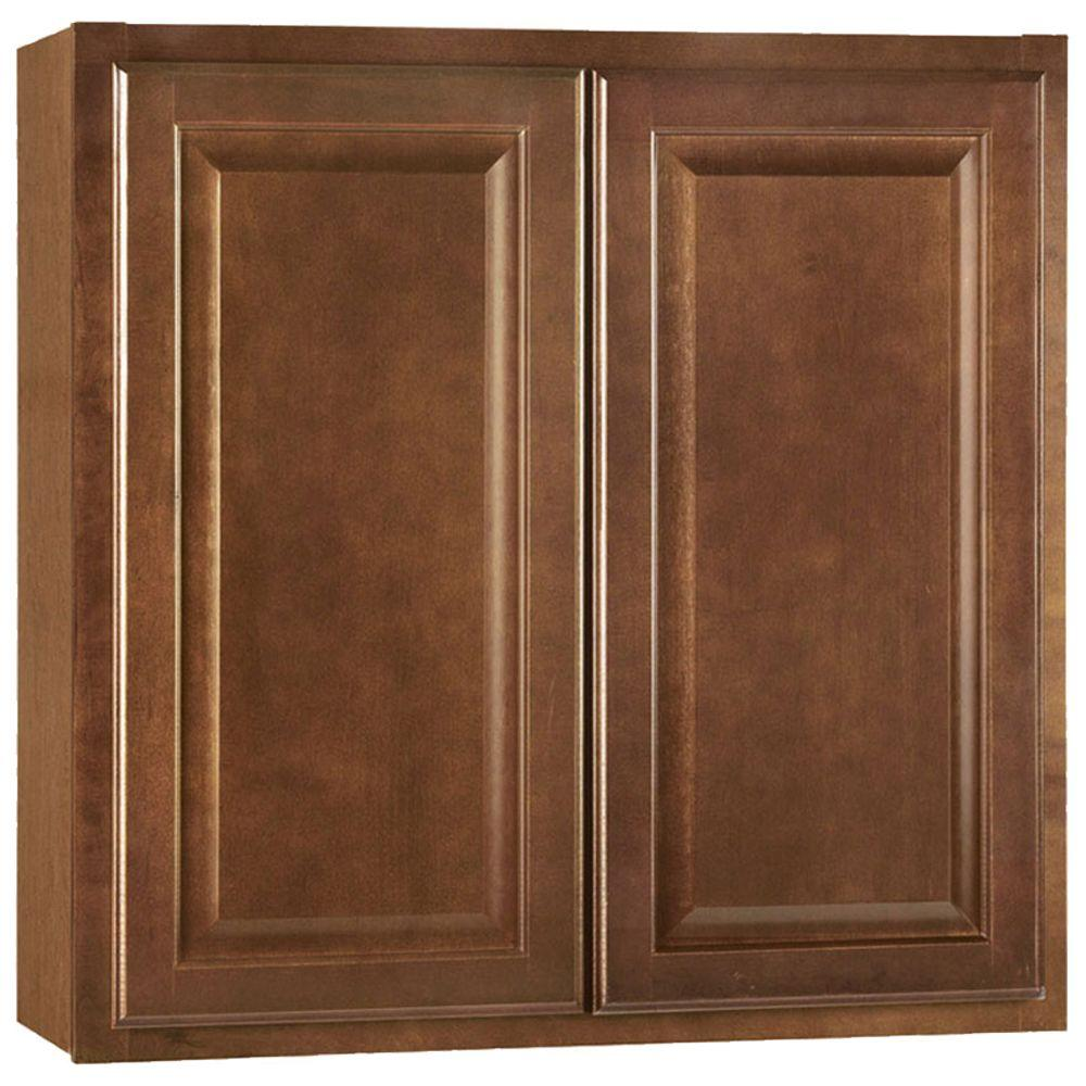 Hampton Bay Hampton Assembled 30x30x12 In Wall Kitchen Cabinet In Cognac Kw3030 Cog The Home