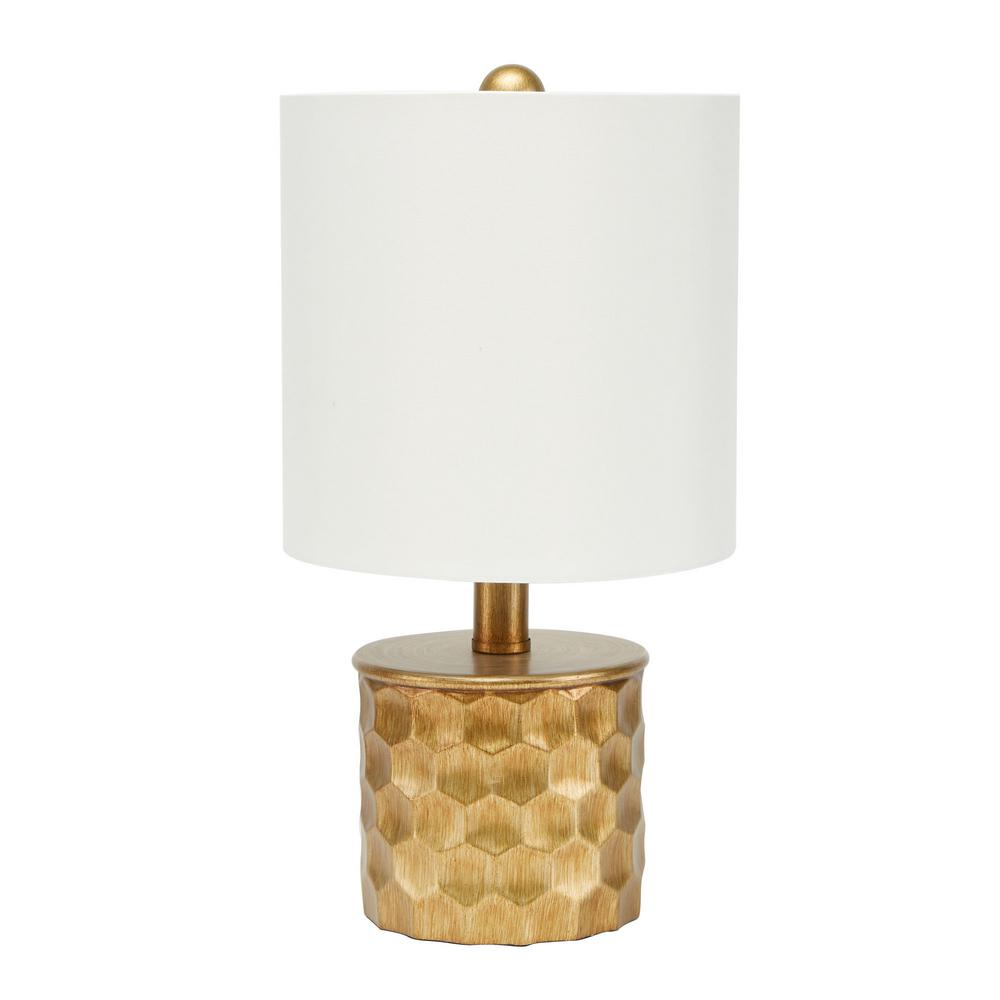 Silverwood Furniture Reimagined Hive Mini Gilded 15 5 In Gold Table Lamp With Linen Shade Write A Review
