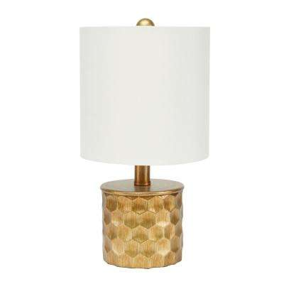 Hive Mini Gilded 15.5 in. Gold Table Lamp with Linen Shade