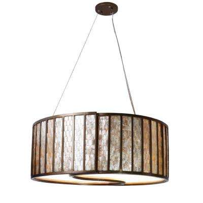 Affinity 4-Light New Bronze Pendant with Natural Capiz