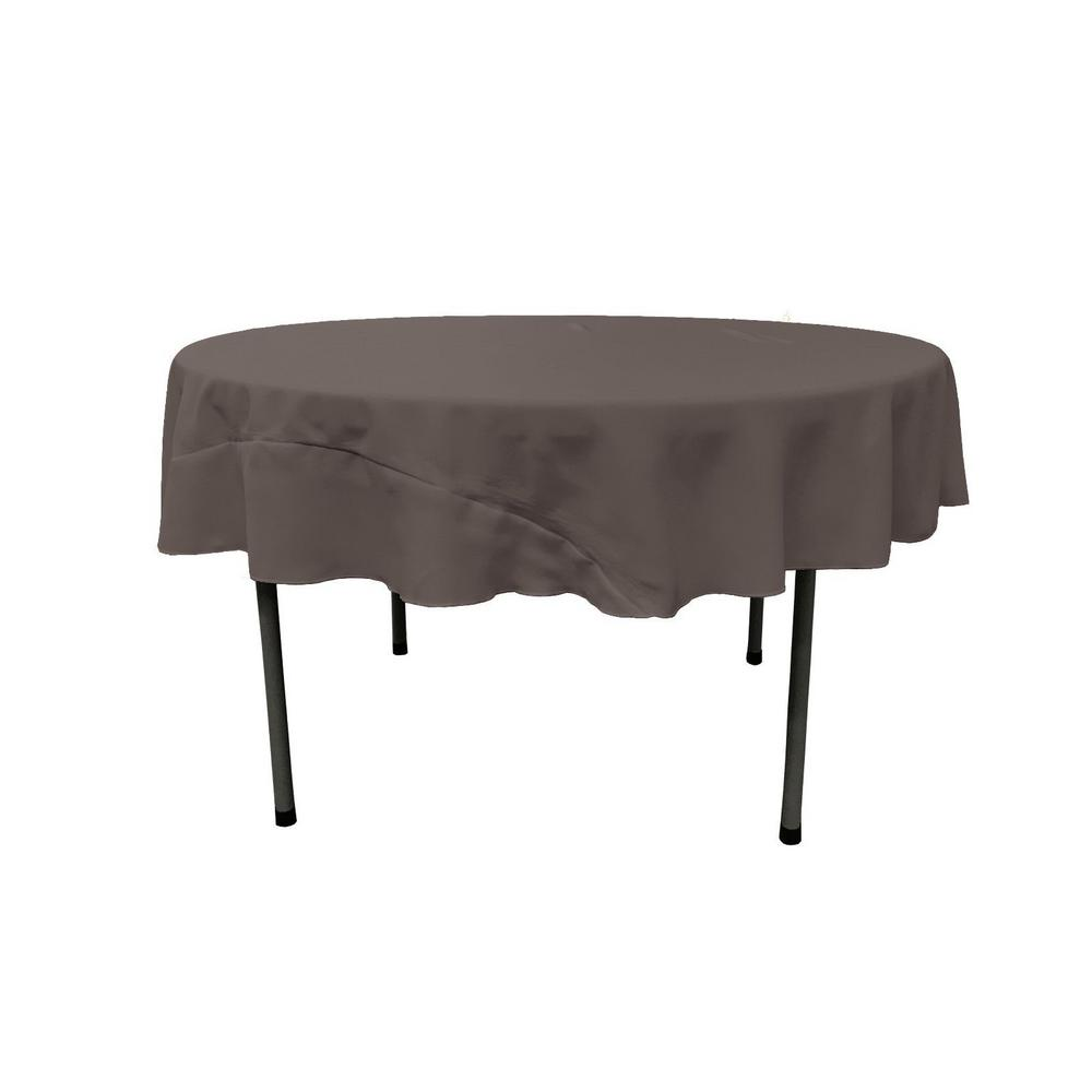 LA Linen 72 In. Round Charcoal Polyester Poplin Tablecloth