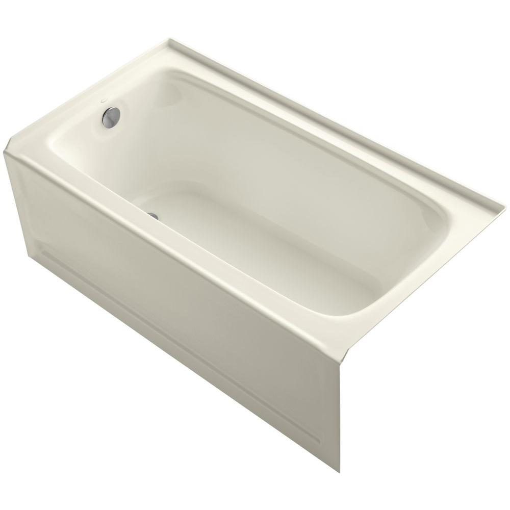 KOHLER Bancroft 5 ft. Acrylic Left Drain Rectangular Farmhouse Apron-Front Non-Whirlpool Bathtub in Biscuit