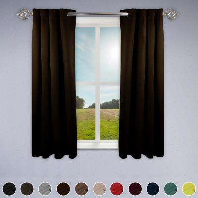 Heavy Duty Drapery 52 in. W x 63 in. H Panel in Chocolate