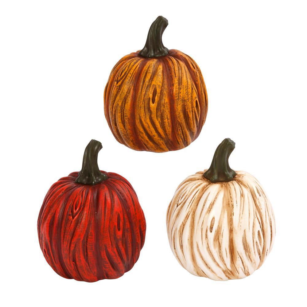 6.1 in. Resin Tabletop Pumpkins (Set of 3)