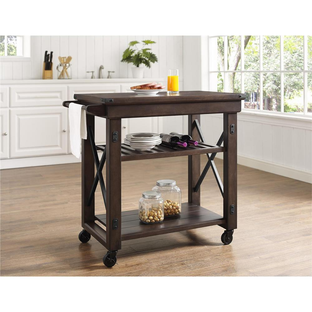 Industrial Kitchen Cart Bar Cart Serving Cart: Ameriwood Forest Grove Espresso Kitchen Serving Cart With