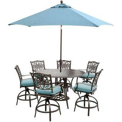 Traditions 7-Piece Aluminum Outdoor High Dining Set with Round Cast Table, Swivels, Umbrella and Base with Blue Cushions