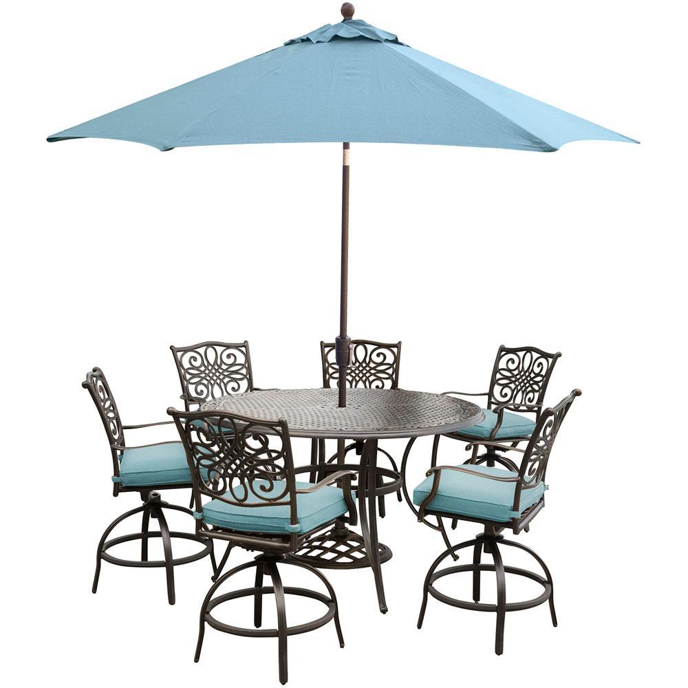 Umbrella Aluminum Bar Height Dining Sets Outdoor Bar Furniture