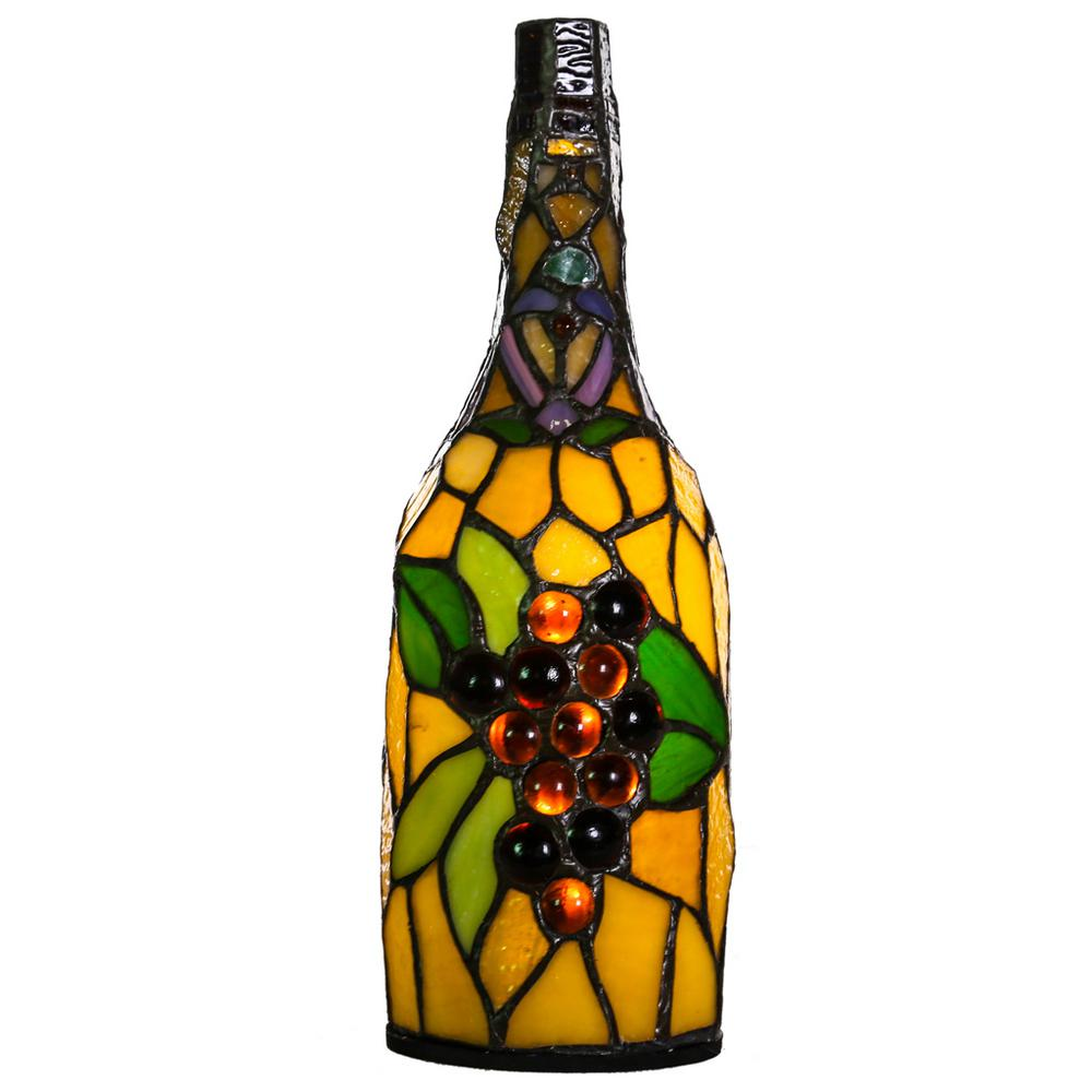 12.5 in. Multi Colored Stained Glass Wine Bottle Accent Lamp