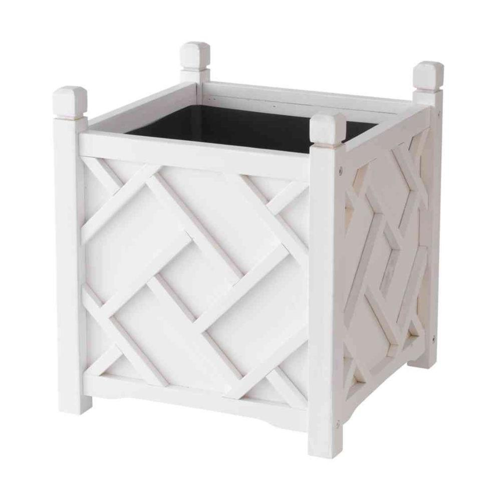 DMC Chippendale 18 in. Square White Wood Planter