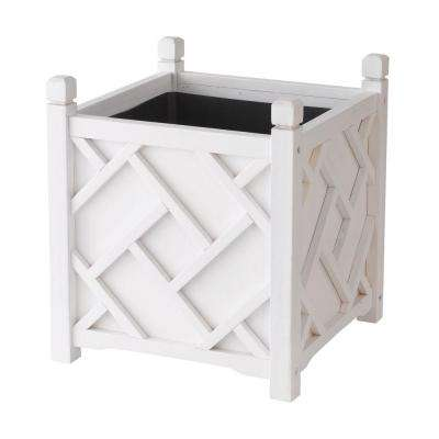 Chippendale 18 in. Square White Wood Planter