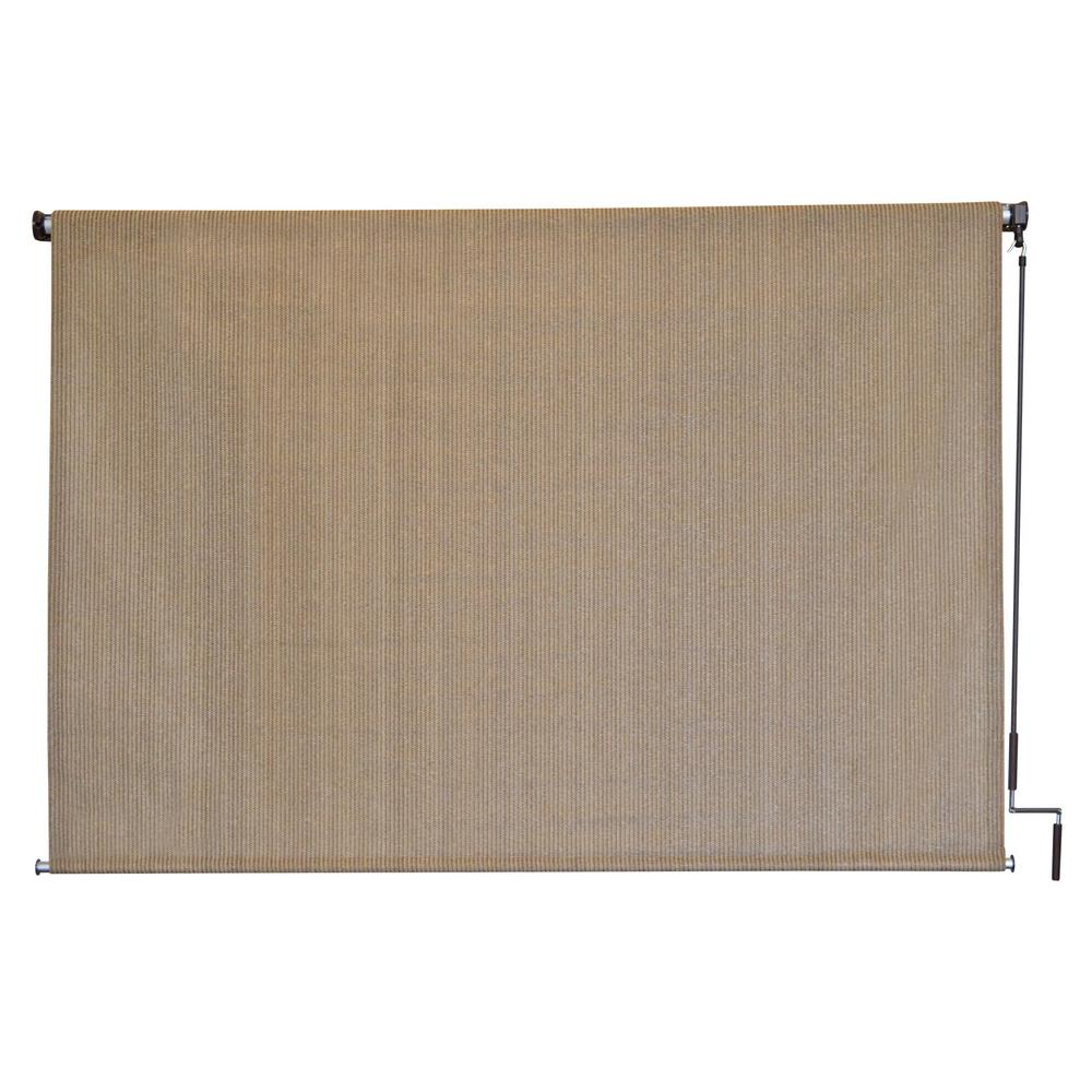 SeaSun Seaside HDPE Fabric Cordless Crank Operated Exterior Roller Shade - 120 in. W x 72 in. L