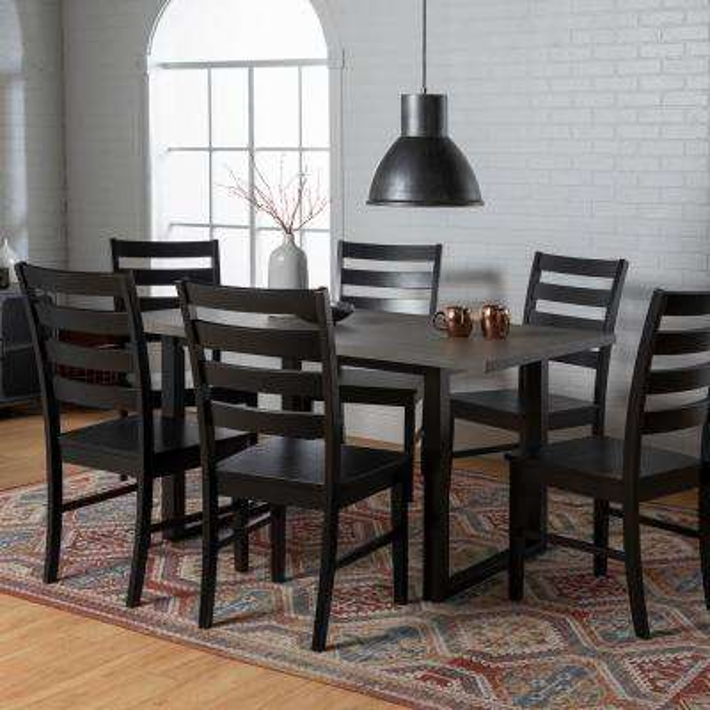 Madison 7-Piece Aged Grey Wood Dining Set