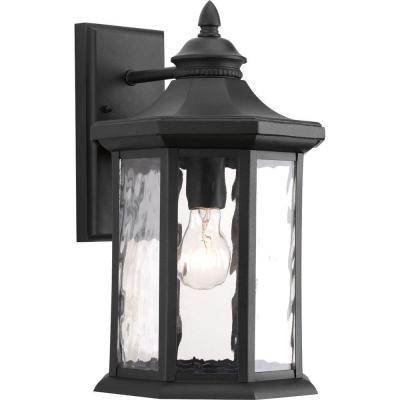 Edition Collection 1-Light Black 15.9 in. Outdoor Wall Lantern Sconce