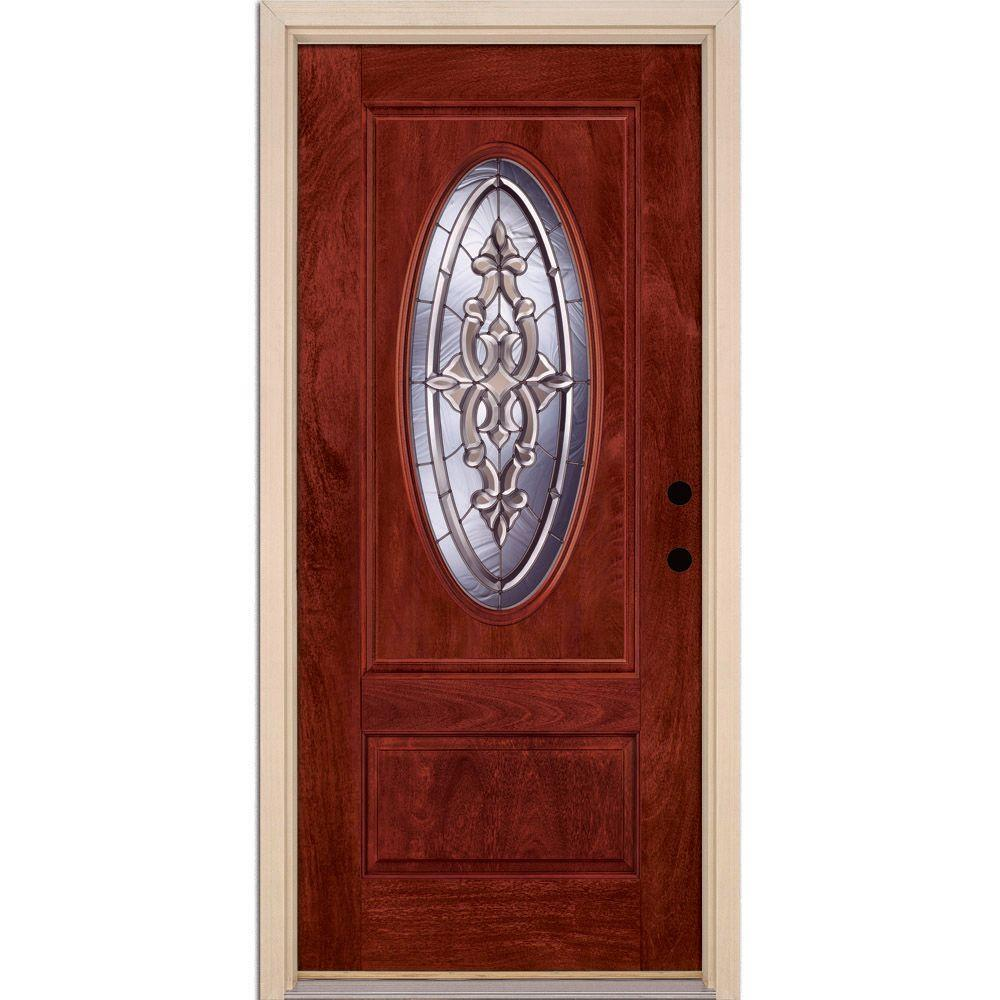 Feather River Doors 37.5 in. x 81.625 in. Silverdale Zinc 3/4 Oval Lite Stained Cherry Mahogany Left-Hand Fiberglass Prehung Front Door