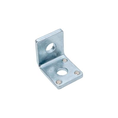 2-Hole 90-Degree Silver Galvanized Angle Strut Bracket with Magnets (Case of 10)