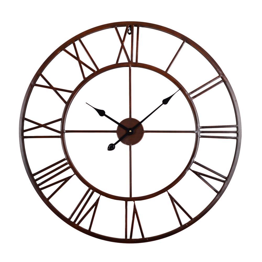 27 in. Oversized Roman Round Wall Clock, Bronze