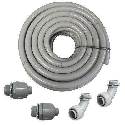3/4 in. Dia x 25 ft. Non Metallic UL Liquid Tight Electrical Conduit Kit with 2 Straight and 2 Angle Fittings Included