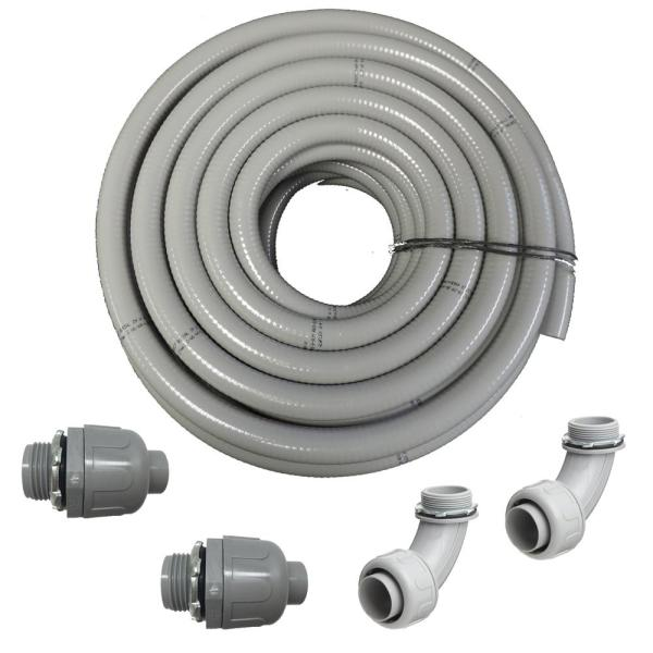 1 in. Dia x 100 ft. Non Metallic UL Liquid Tight Electrical Conduit Kit with 2 Straight and 2 Angle Fittings Included