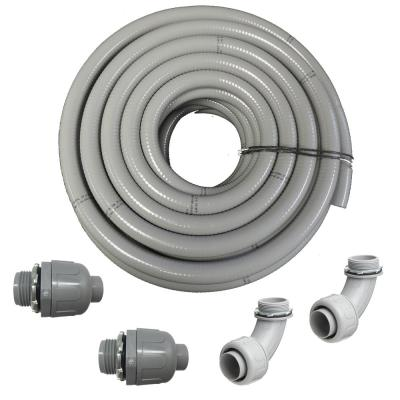 2 in. Dia x 25 ft. Non-Metallic UL Liquid Tight Electrical Conduit Kit with 2 Straight and 2 Angle Fittings Included